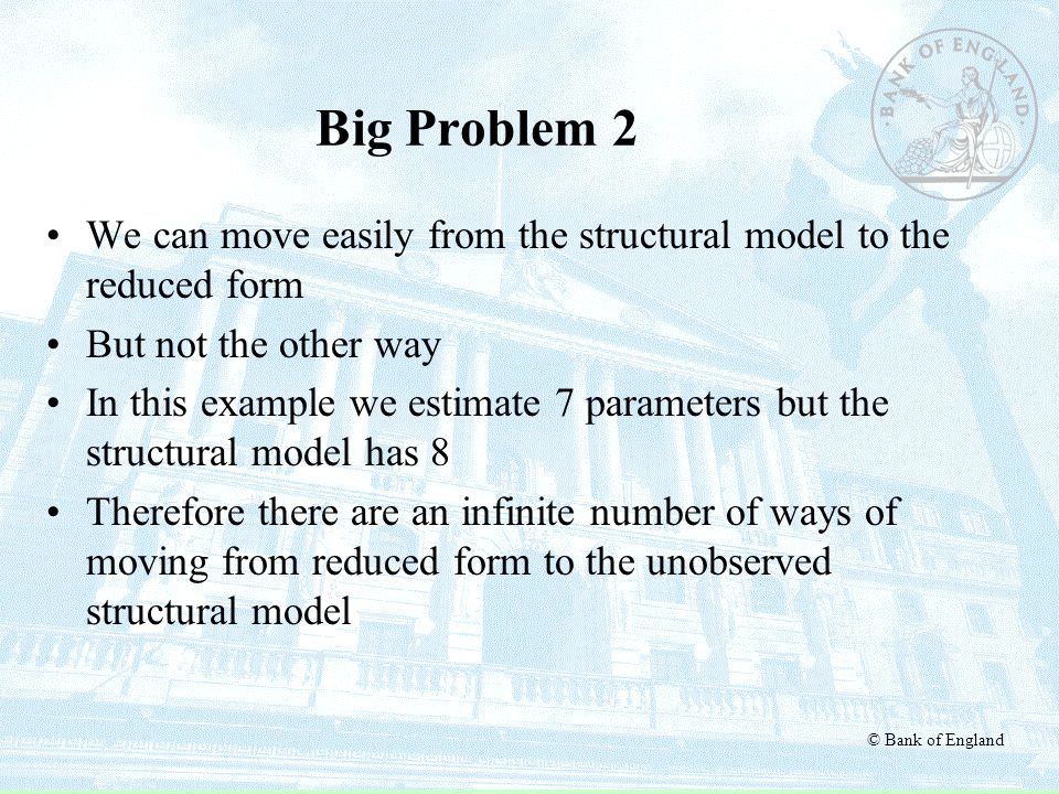 Big Problem 2 We can move easily from the structural model to the reduced form. But not the other way.
