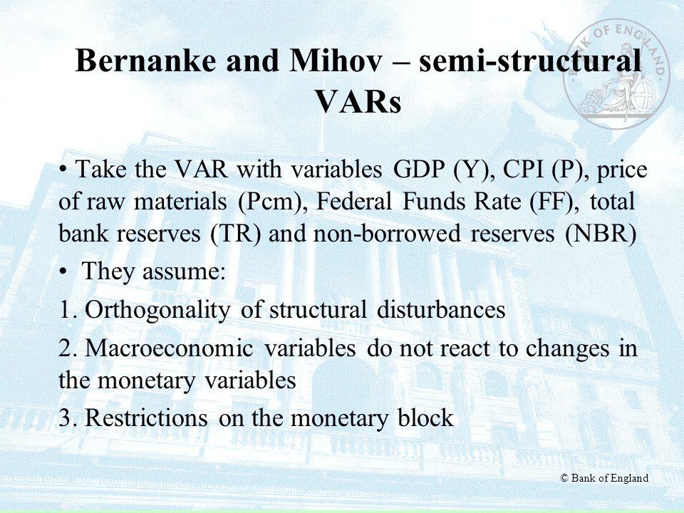 Bernanke and Mihov – semi-structural VARs