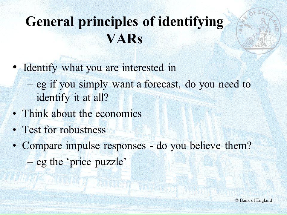 General principles of identifying VARs