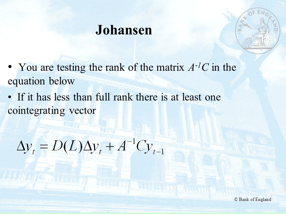 Johansen You are testing the rank of the matrix A-1C in the equation below.