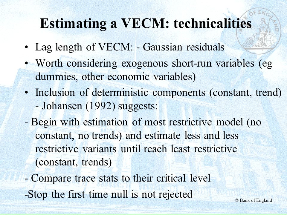 Estimating a VECM: technicalities