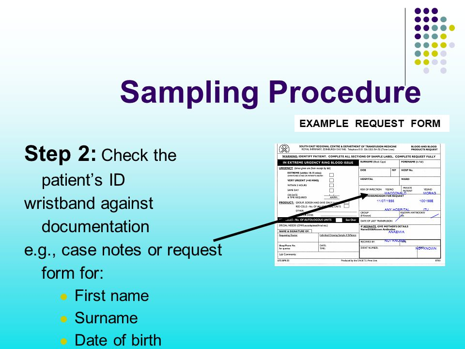 Sampling Procedure Step 2: Check the patient's ID