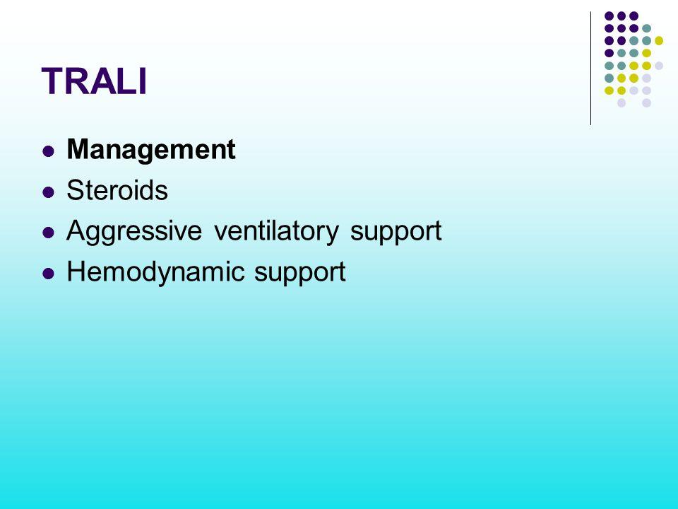 TRALI Management Steroids Aggressive ventilatory support