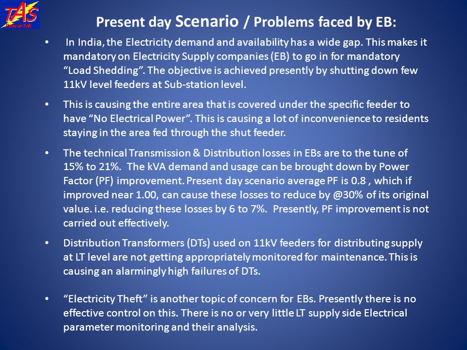 Present day Scenario / Problems faced by EB: