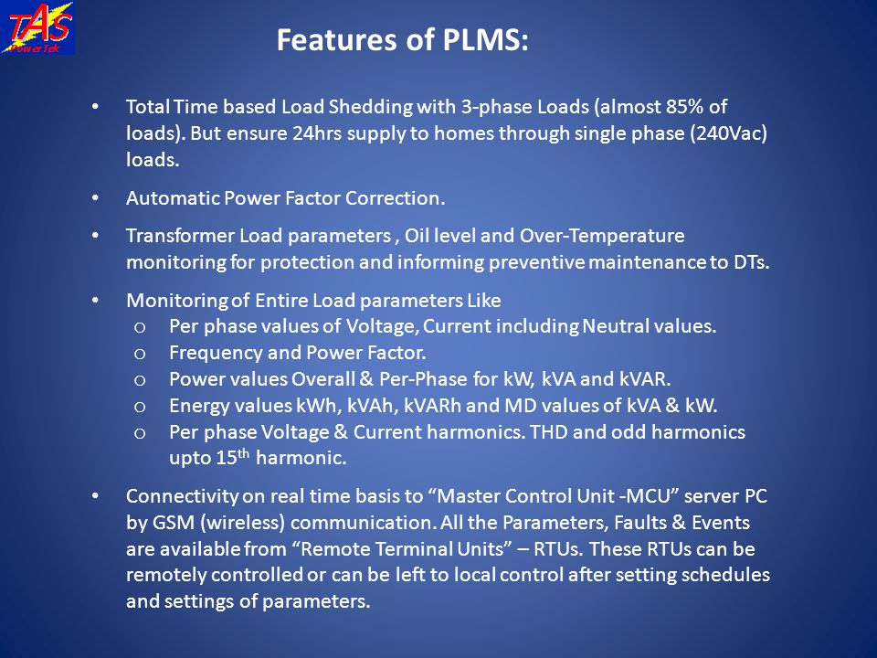 Features of PLMS: