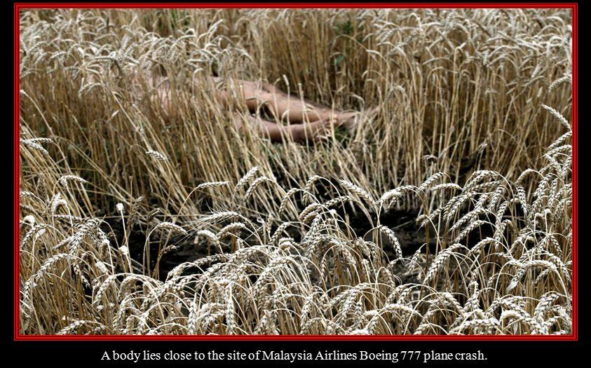 A body lies close to the site of Malaysia Airlines Boeing 777 plane crash.