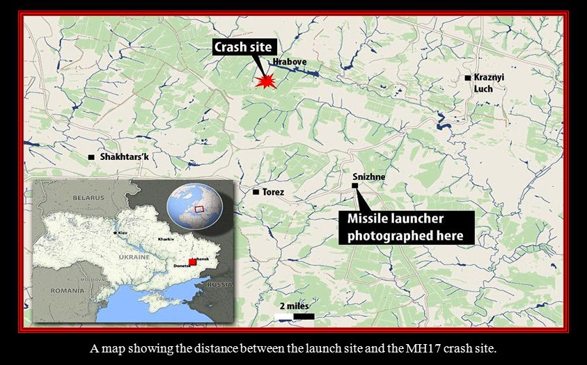 A map showing the distance between the launch site and the MH17 crash site.