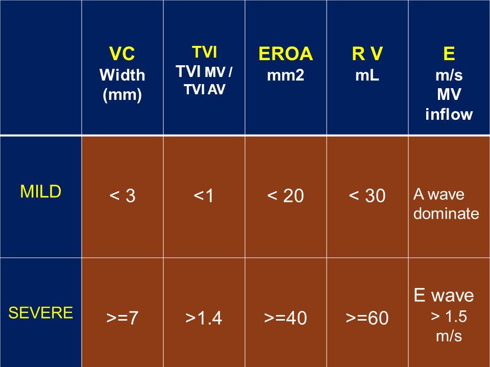 VC EROA mm2 R V mL E m/s < 3 <1 < 20 < 30 >=7 >1.4