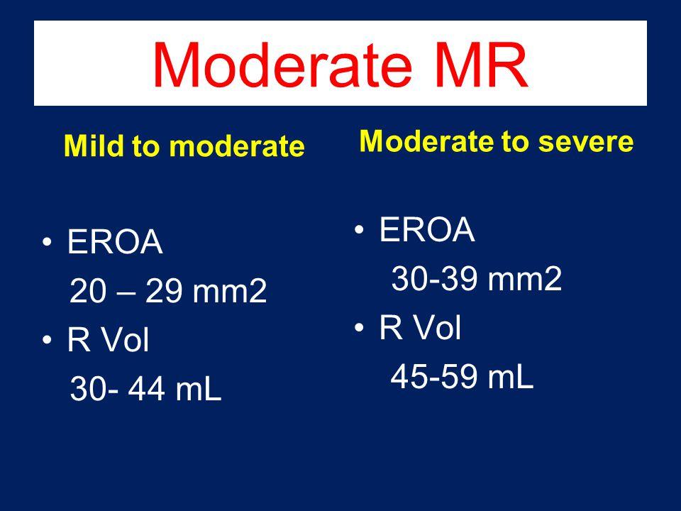 Moderate MR EROA EROA 30-39 mm2 20 – 29 mm2 R Vol R Vol 45-59 mL