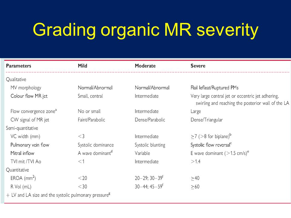 Grading organic MR severity