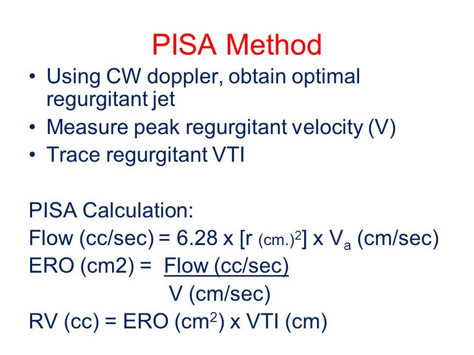 PISA Method Using CW doppler, obtain optimal regurgitant jet