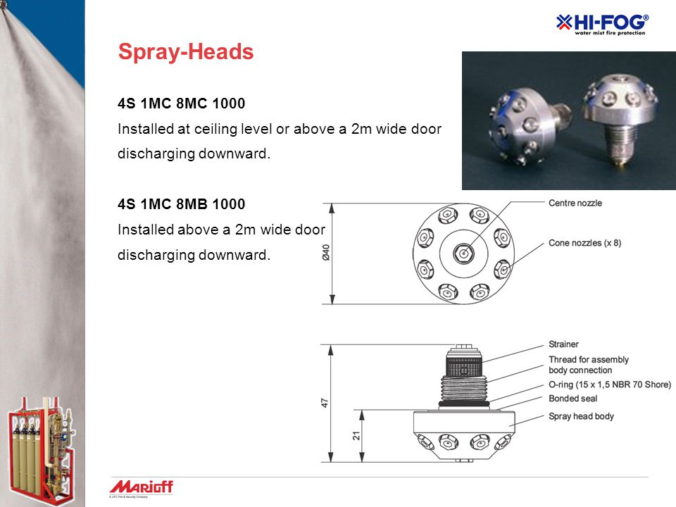 Spray-Heads 4S 1MC 8MC 1000. Installed at ceiling level or above a 2m wide door. discharging downward.