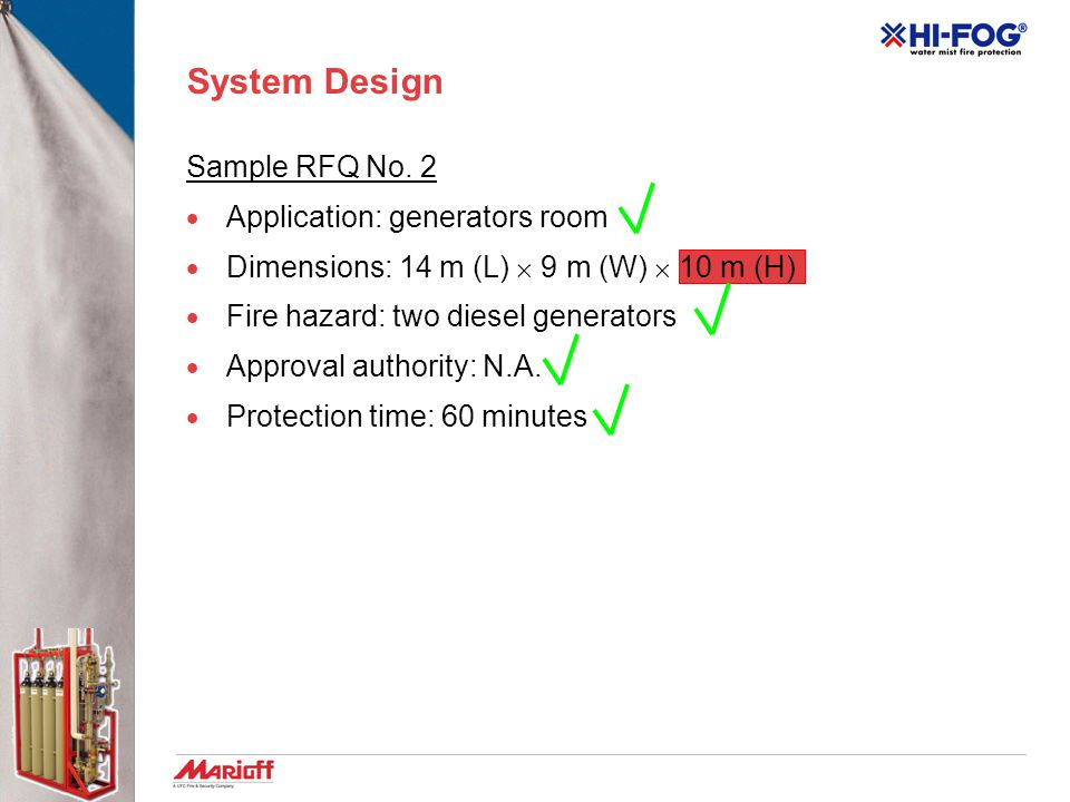 System Design Sample RFQ No. 2 Application: generators room