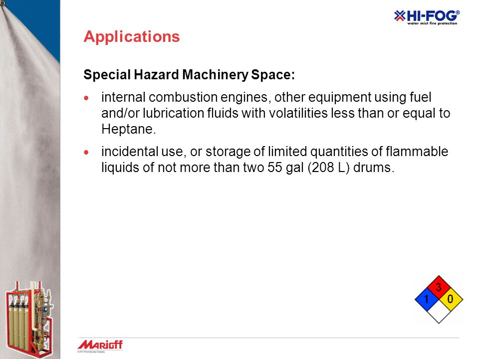 Applications Special Hazard Machinery Space: