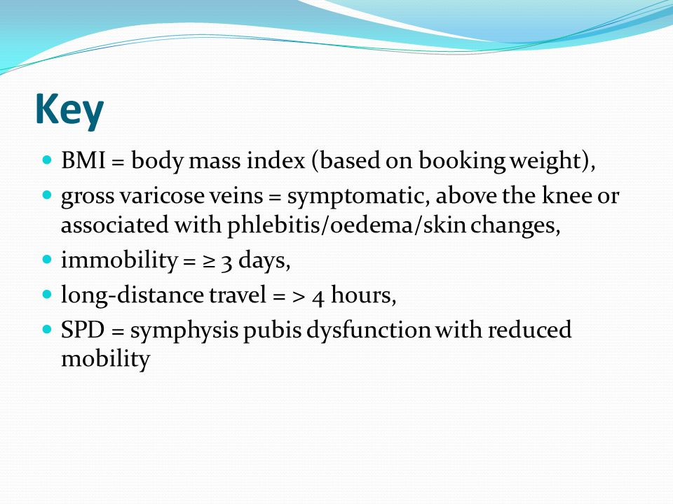 Key BMI = body mass index (based on booking weight),
