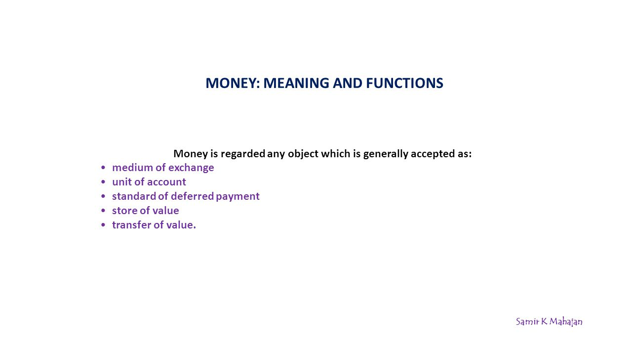 MONEY: MEANING AND FUNCTIONS