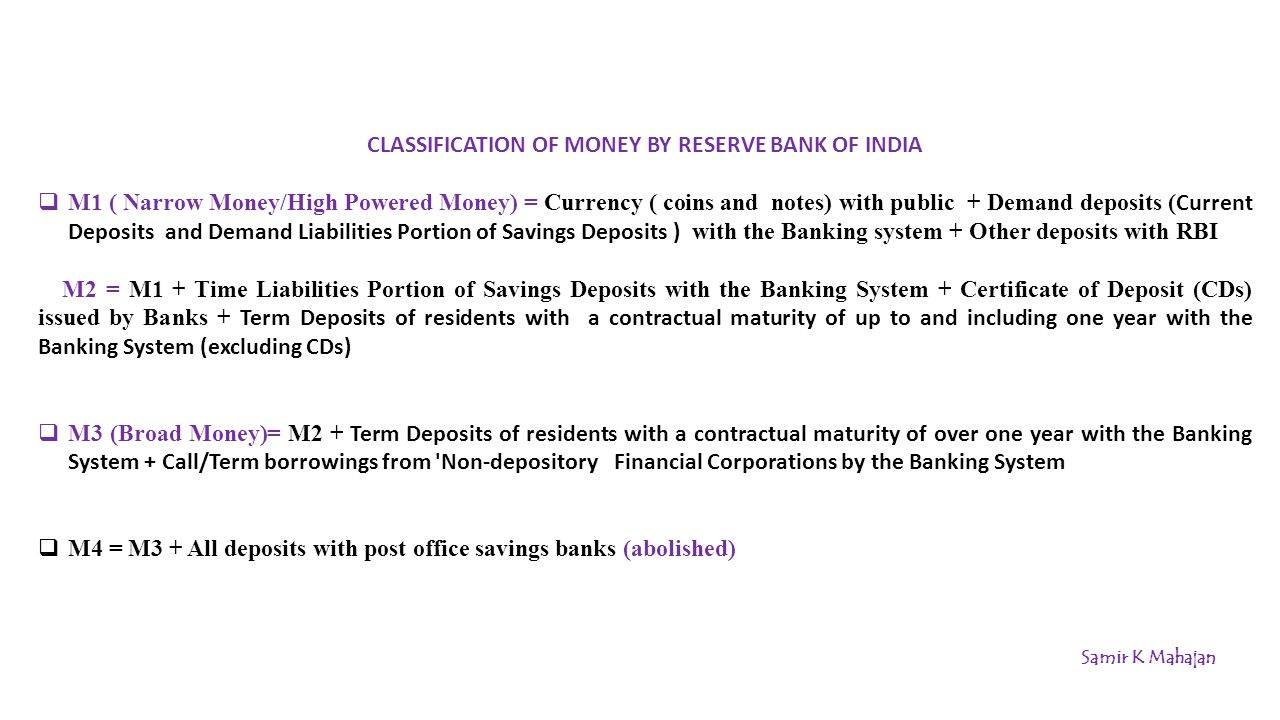 CLASSIFICATION OF MONEY BY RESERVE BANK OF INDIA