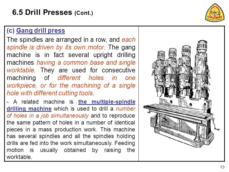 6.5 Drill Presses (Cont.) (c) Gang drill press