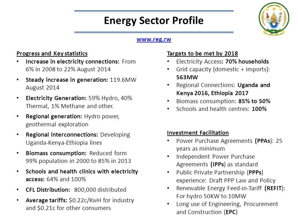 Energy Sector Profile www.reg.rw Progress and Key statistics