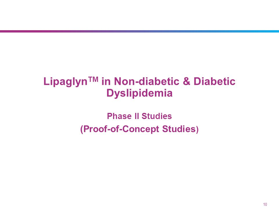 Phase II studies Proof-of-concept of LipaglynTM was established in double blind studies. LipaglynTM doses of 0.5 to 4 mg/day were studied in,