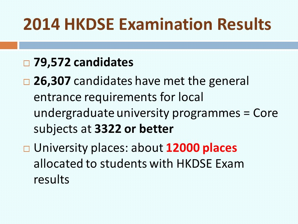 2014 HKDSE Examination Results