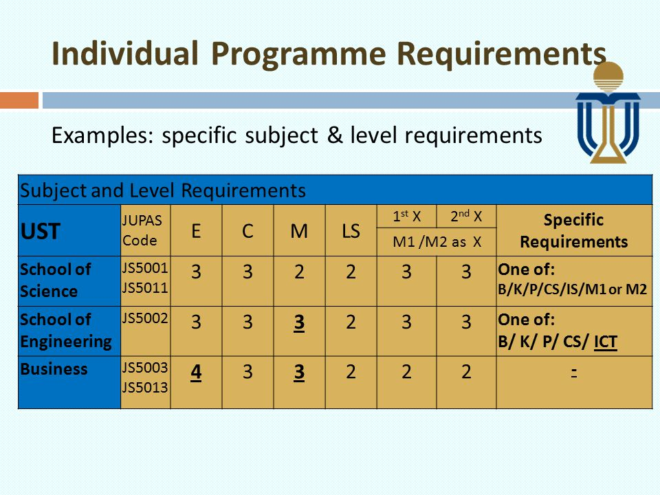 Individual Programme Requirements