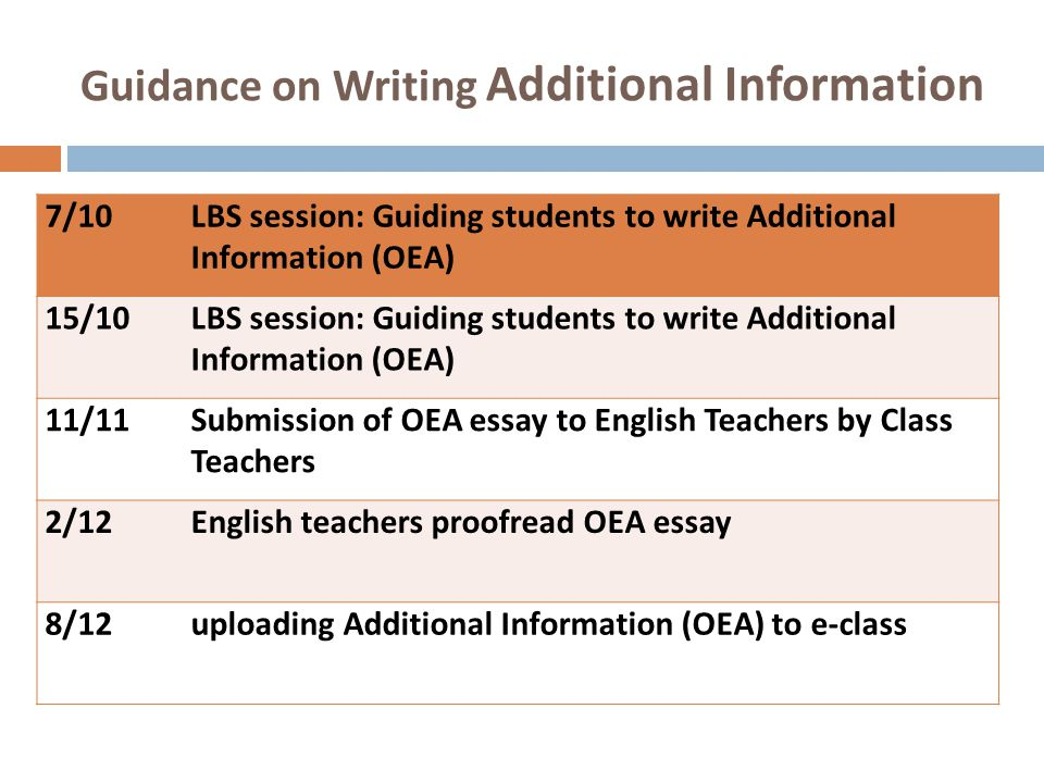 Guidance on Writing Additional Information