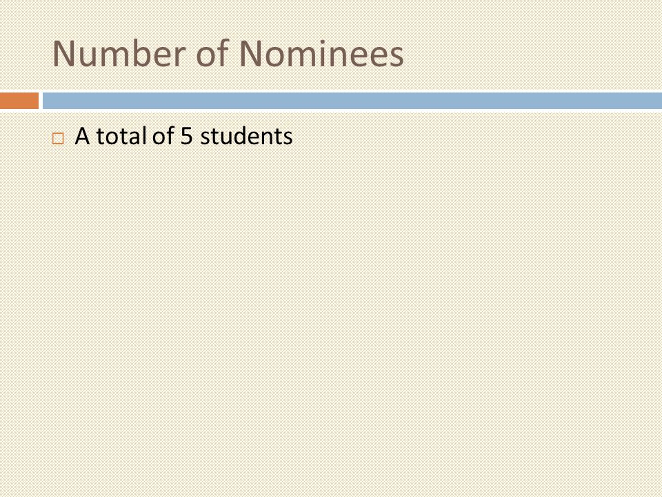 Number of Nominees A total of 5 students