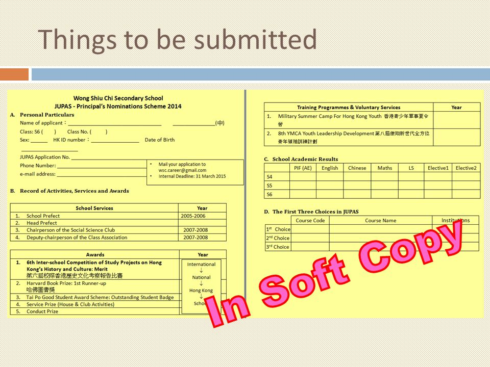 Things to be submitted In Soft Copy
