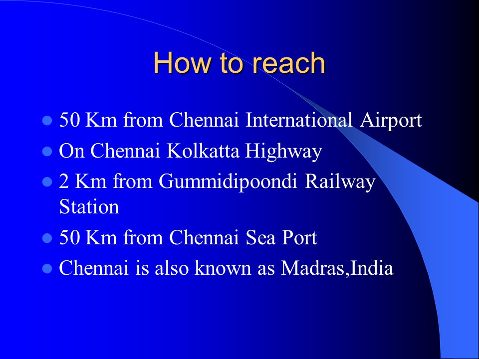 How to reach 50 Km from Chennai International Airport