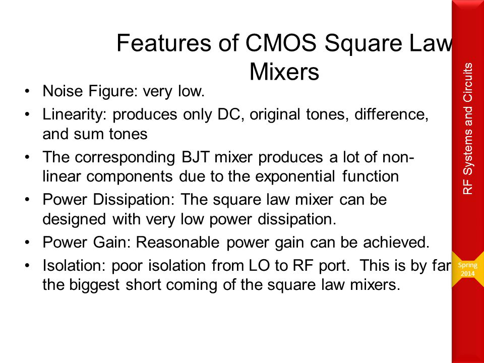 Features of CMOS Square Law Mixers