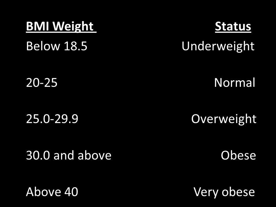 BMI Weight Status Below 18. 5 Underweight 20-25 Normal 25. 0-29