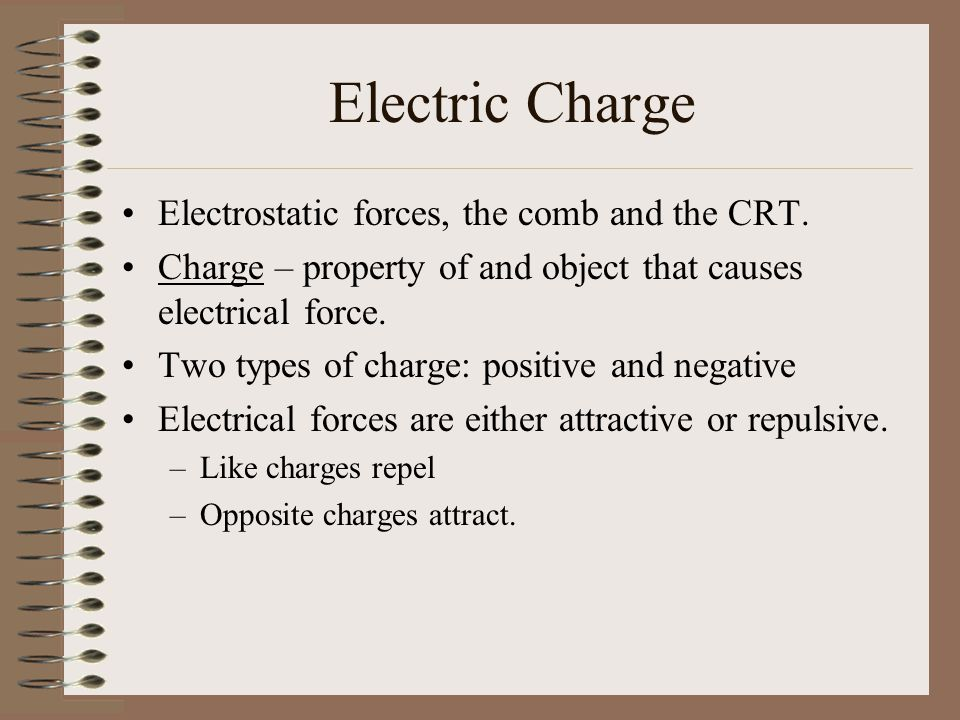 Electric Charge Electrostatic forces, the comb and the CRT.