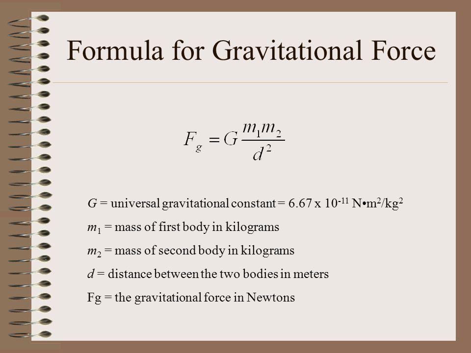 Formula for Gravitational Force