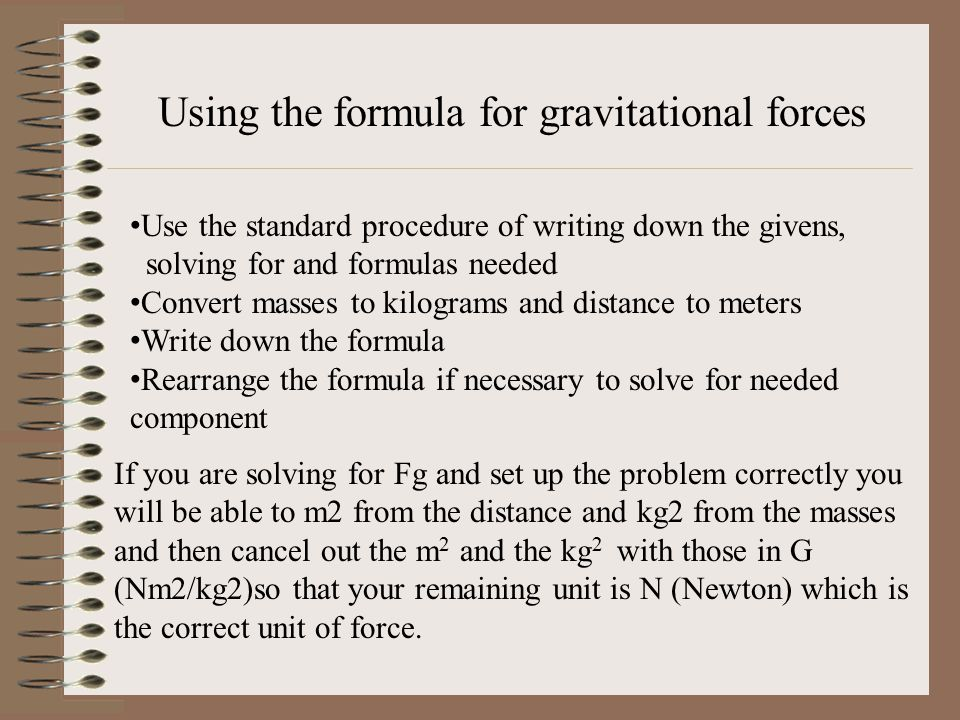 Using the formula for gravitational forces