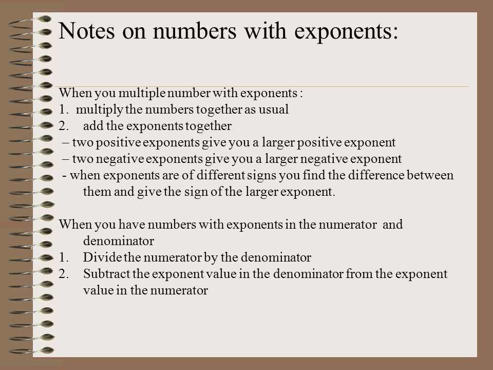Notes on numbers with exponents: