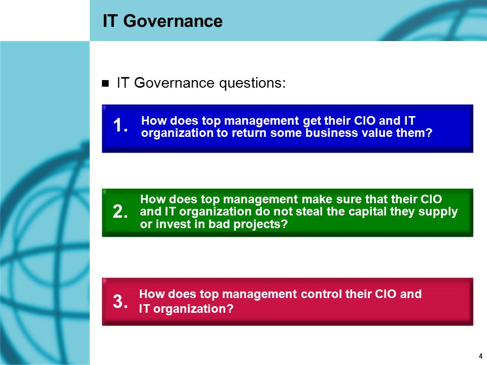 1. 2. 3. IT Governance IT Governance questions: