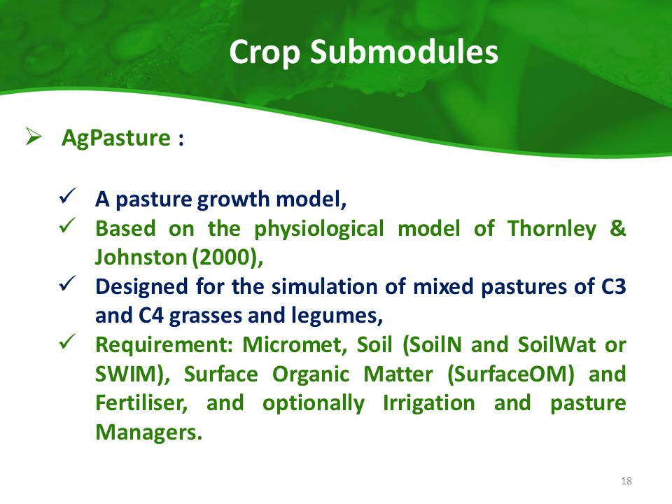 Crop Submodules AgPasture : A pasture growth model,