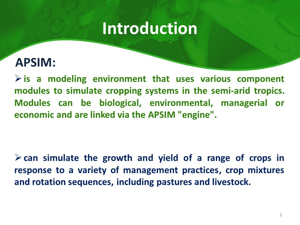 Introduction APSIM: