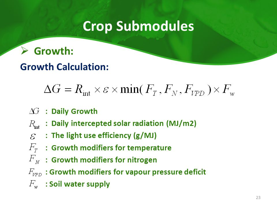 Crop Submodules Growth: Growth Calculation: : Daily Growth