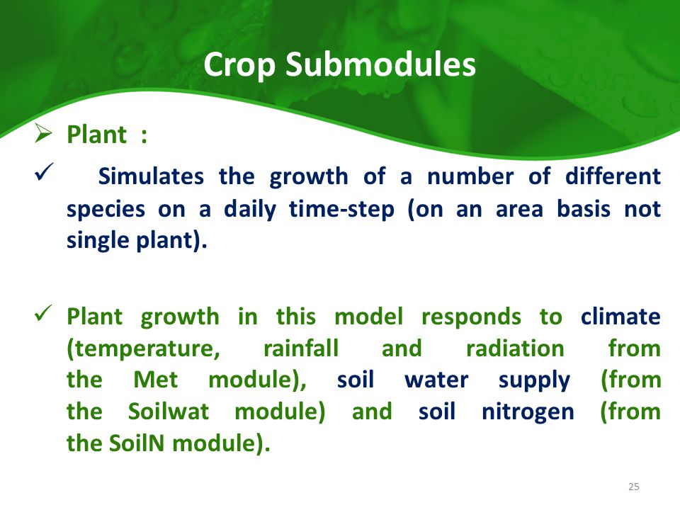 Crop Submodules Plant :