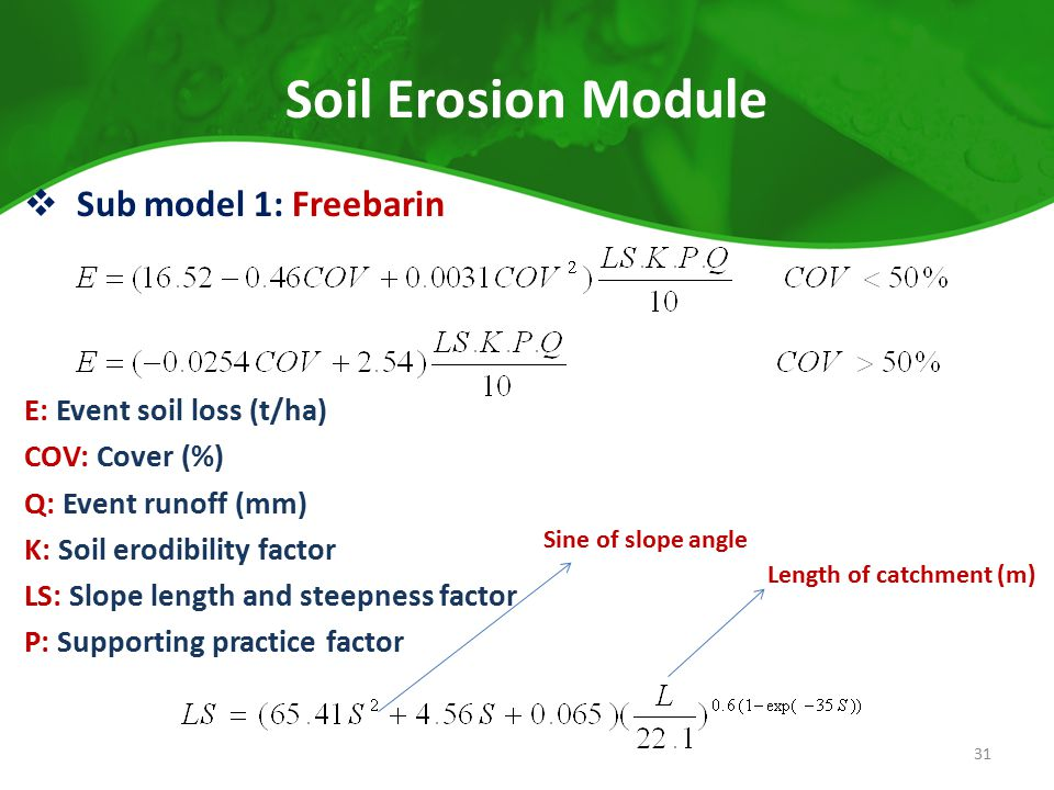 Soil Erosion Module Sub model 1: Freebarin E: Event soil loss (t/ha)