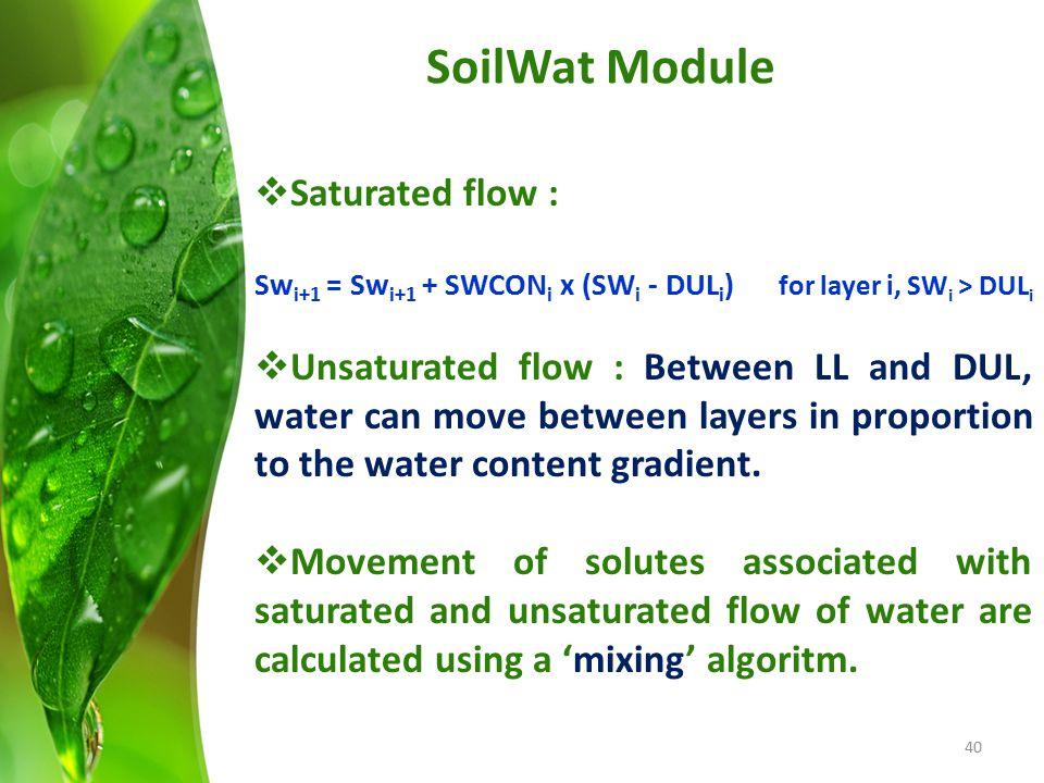 SoilWat Module Saturated flow :