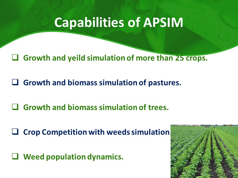 Capabilities of APSIM Growth and yeild simulation of more than 25 crops. Growth and biomass simulation of pastures.