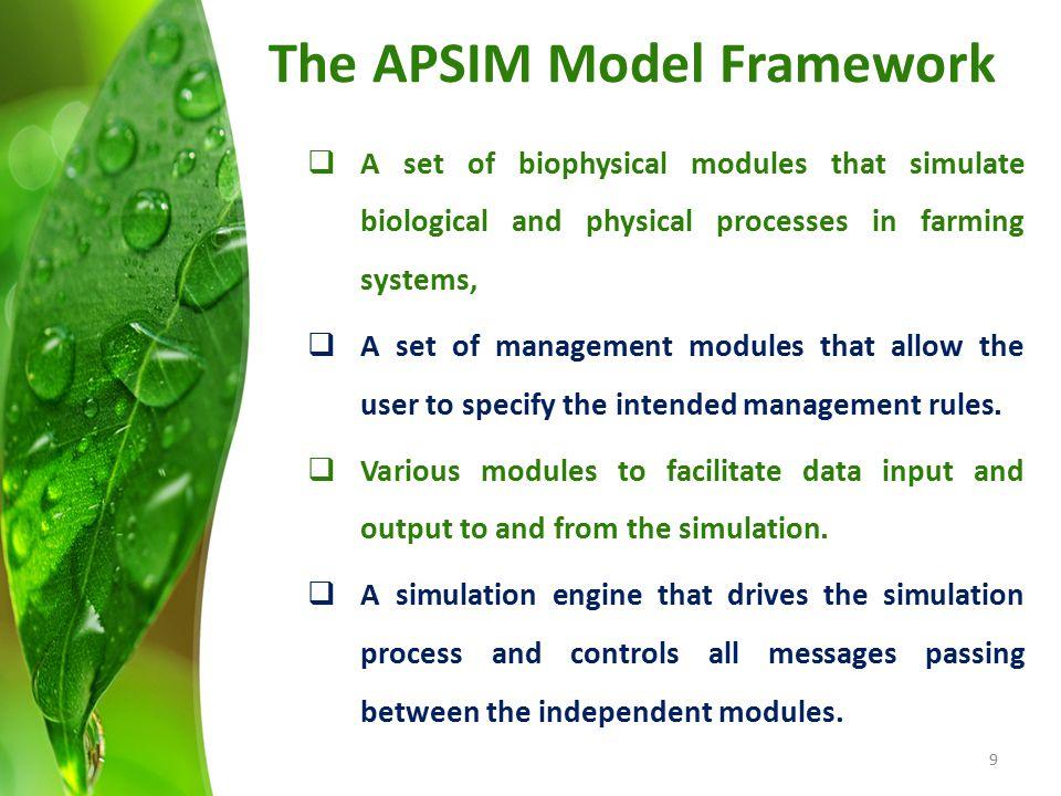 The APSIM Model Framework
