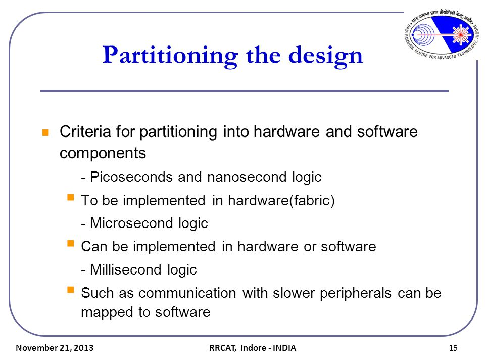 Partitioning the design