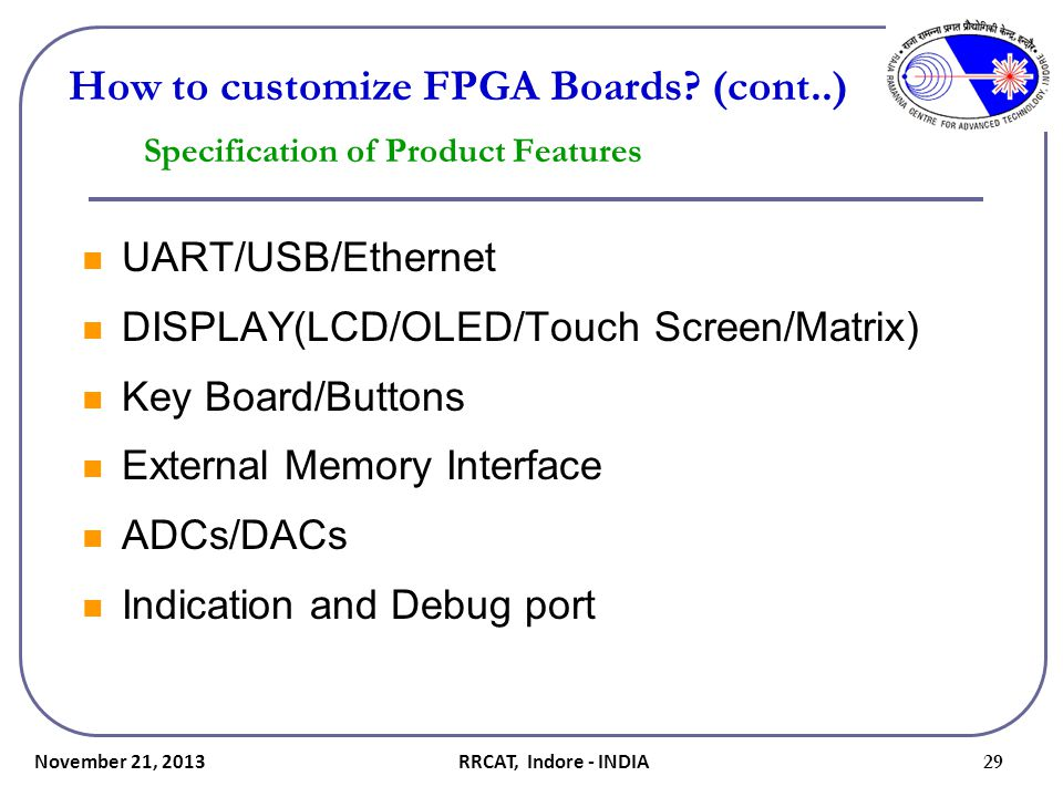 Specification of Product Features