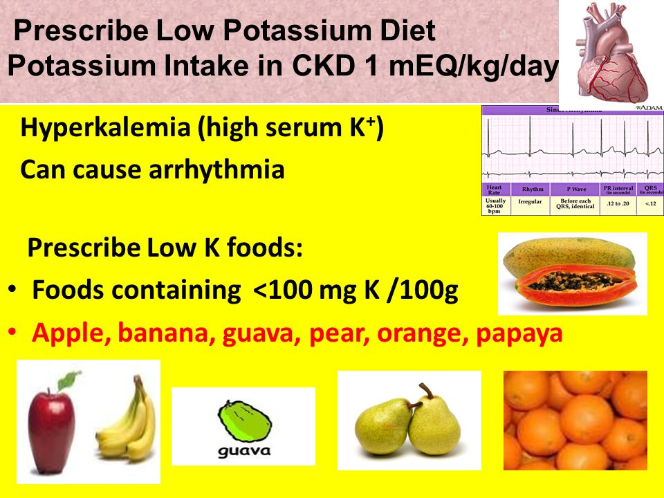 Prescribe Low Potassium Diet Potassium Intake in CKD 1 mEQ/kg/day