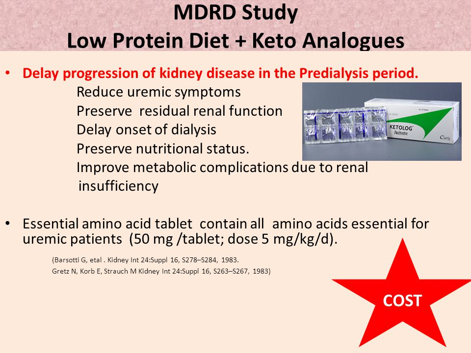 MDRD Study Low Protein Diet + Keto Analogues