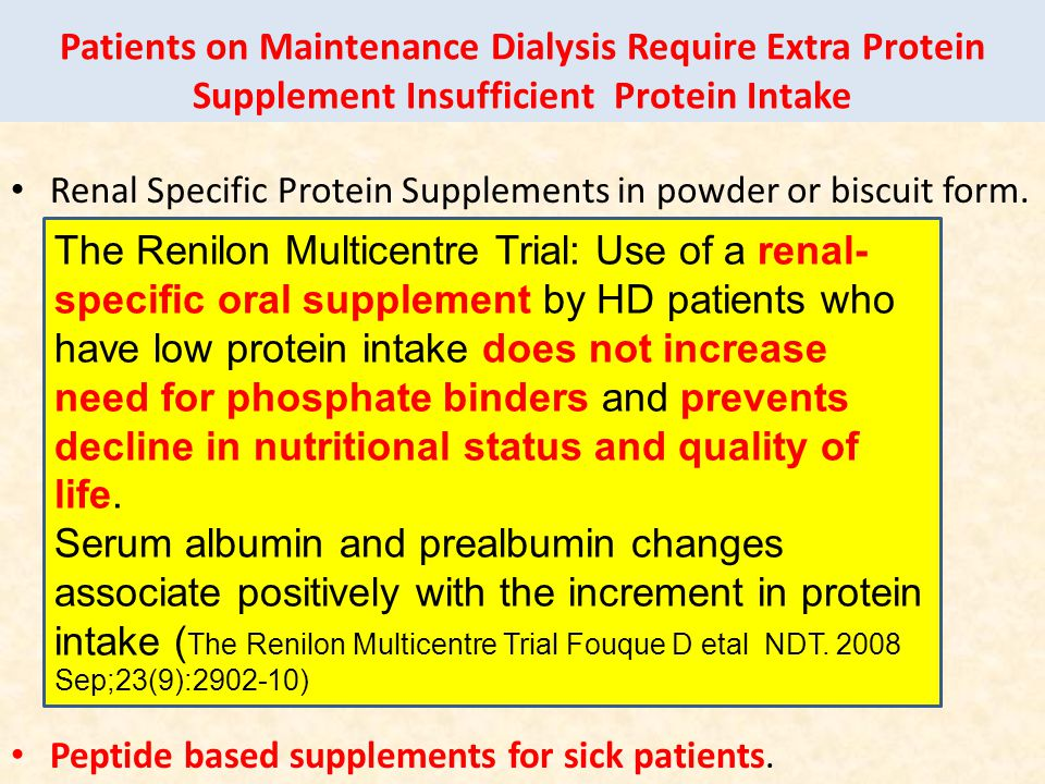 Patients on Maintenance Dialysis Require Extra Protein Supplement Insufficient Protein Intake